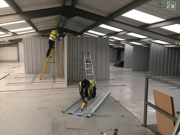 storage units being assembled