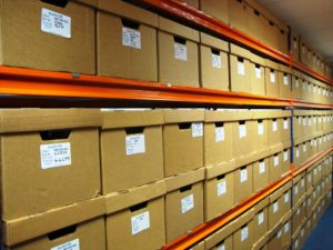 boxes in a storage facility