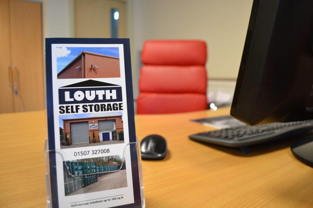 louth self storage leaflet on desk